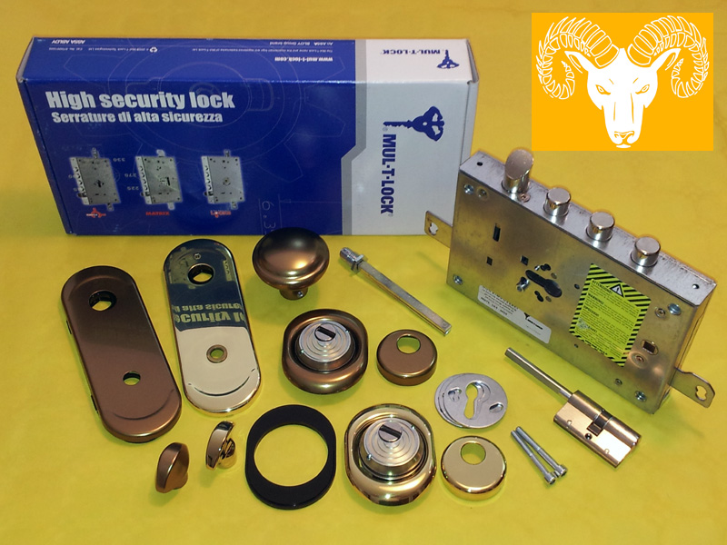 Serratura a cilindro europeo Multilock per porta blindata con trappola L.O.G. lock out guardian