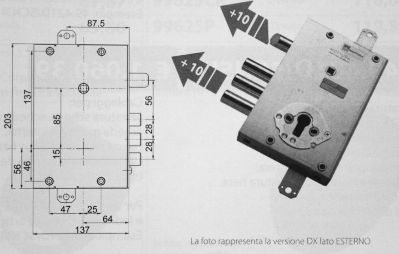 Serratura Vighi Mottura per Cisa con secondo chiavistello mancante sporgenza 13 m